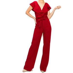 Ruffle V-neck Wide Leg Sleeveless Casual Jumpsuit