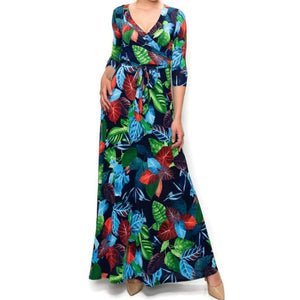 Janette Fashion Autumn Ice Faux Wrap Maxi Dress