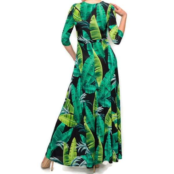 Janette Fashion Black Green Banana Leaves Faux Wrap Maxi Dress