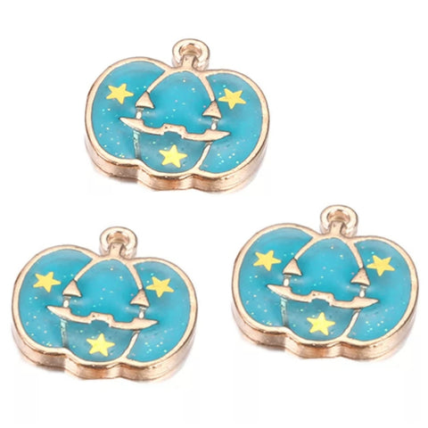 Halloween Pumpkin Blue Gold Charms
