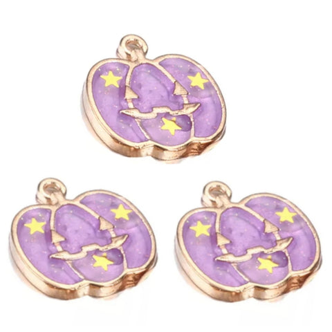 Halloween Pumpkin Purple Gold Charms