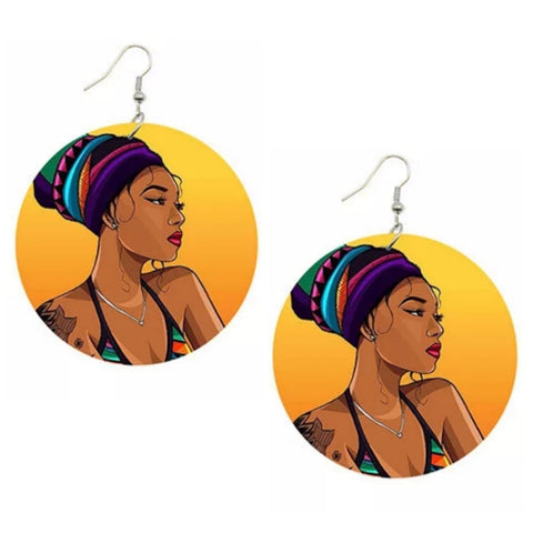 Headwrap Soul Sista Statement Dangle Wood Earrings