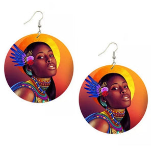 Queen Soul Sista Statement Dangle Wood Earrings