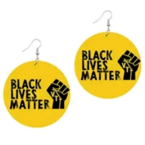 Black Lives Matter Power Fist Yellow Statement Dangle Wood Earrings