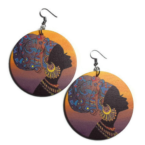 Africa Sparkle Statement Dangle Wood Earrings