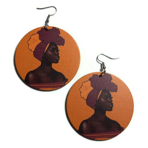 Black Woman Grace Statement Dangle Wood Earrings