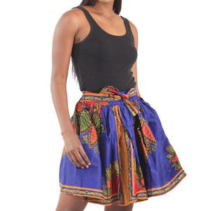 African Traditional Royal Blue Pattern Flare Mini Skirt with Matching Headwrap