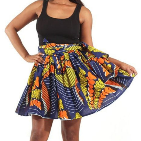 African Floating Hearts Pattern Flare Mini Skirt with Matching Headwrap