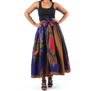 African Traditional Royal Blue Print Maxi Skirt with Matching Headwrap
