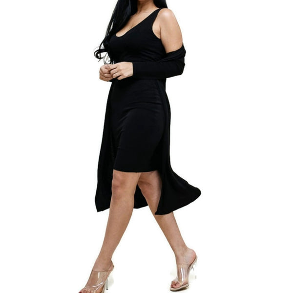 MM Black Bodycon Sleeveless Dress with Matching Cardigan 2 Piece Set