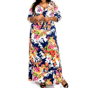 Janette Fashion Tropical Faux Wrap Maxi Plussize Dress