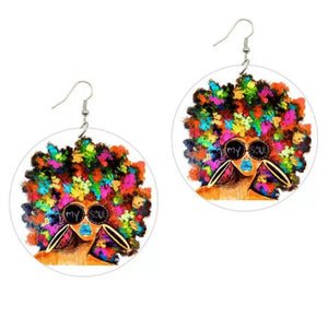 My Soul Afro Statement Dangle Wood Earrings