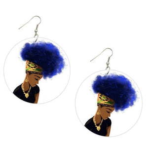 Blue Afro Lady Statement Dangle Wood Earrings