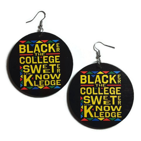 Blacker The College Sweeter The Knowledge Statement Dangle Wood Earrings
