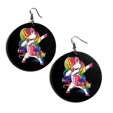 Dancing Unicorn Statement Dangle Wood Earrings