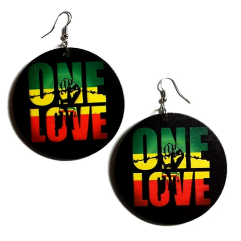 ONE LOVE Power Fist Rasta Statement Dangle Wood Earrings