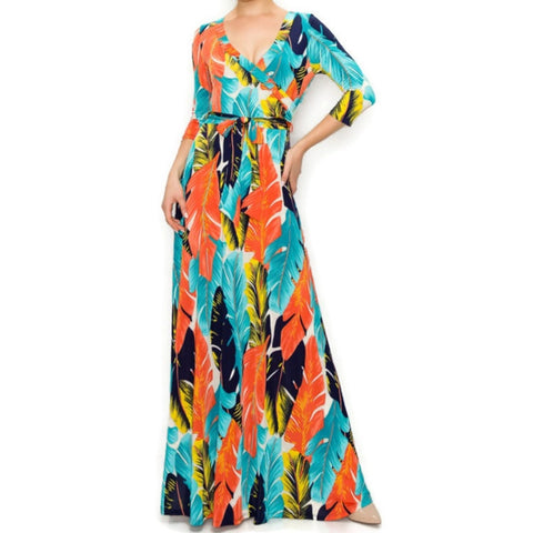 Janette Fashion Aqua Orange Palm Tree Leaves Faux Wrap Maxi Dress