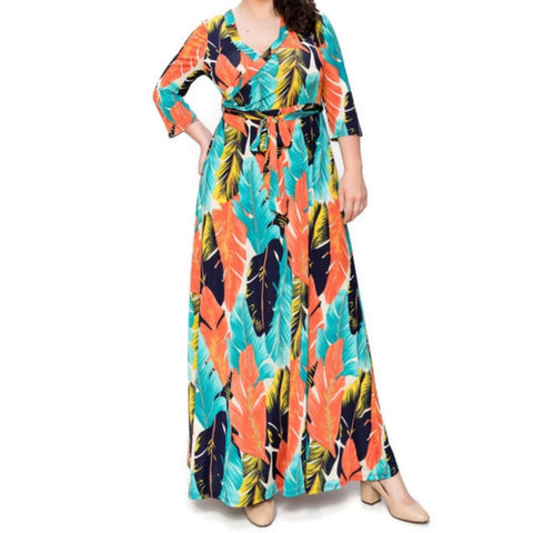 Aqua Orange Palm Tree Leaves Faux Wrap Maxi Plussize Dress