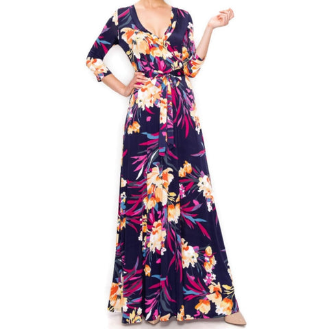 Janette Fashion Purple Rust Floral Flare Faux Wrap Maxi Dress