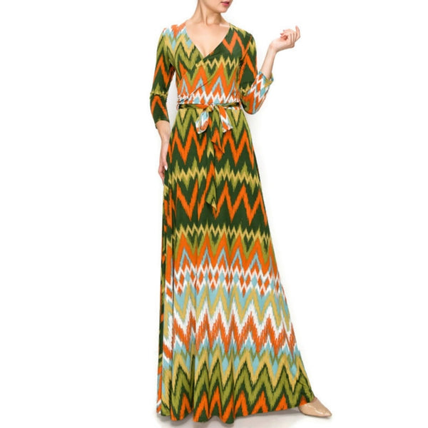 Janette Fashion No Static Faux Wrap Maxi Dress