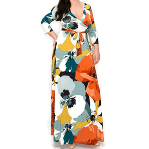 Janette Fashion Fall First Love Faux Wrap Maxi Plussize Dress