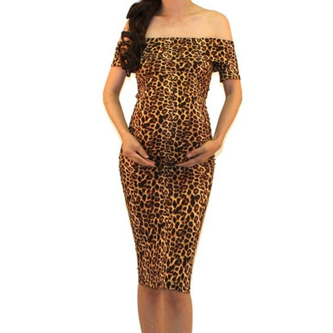 Got Style Leopard Off Shoulder Ruched Fitted Maternity Midi Dress