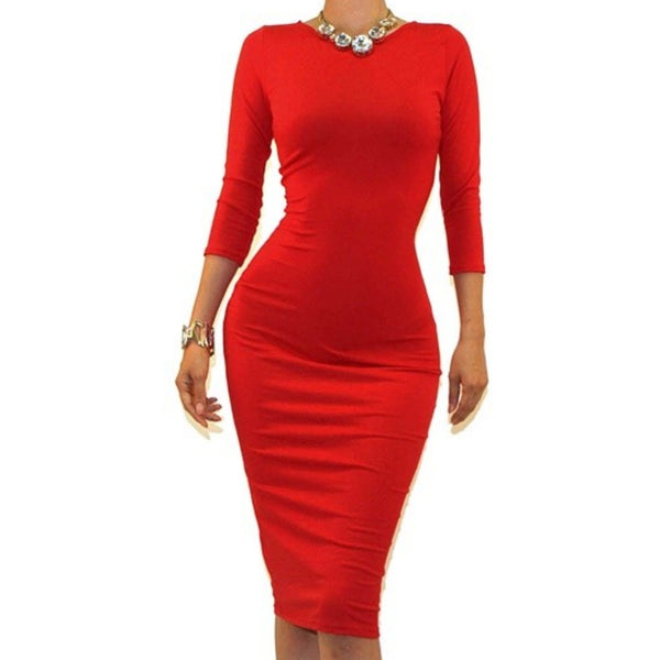 Got Style Red 3/4 Sleeve Bodycon Party Cocktail Dress