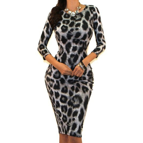 Got Style Black White Animal Print 3/4 Sleeve Bodycon Party Cocktail Dress