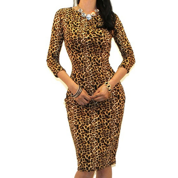 Got Style Cheetah Print 3/4 Sleeve Bodycon Party Cocktail Dress