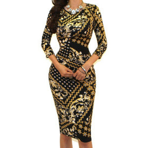 Got Style Star Studded 3/4 Sleeve Bodycon Party Cocktail Dress