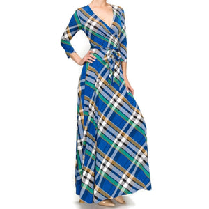 Janette Fashion Blue Green Plaid Faux Wrap Maxi Dress