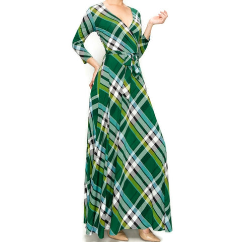 Janette Fashion Green Black Plaid Faux Wrap Maxi Dress