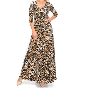 Janette Fashion Cheetah Print Faux Wrap Maxi Dress
