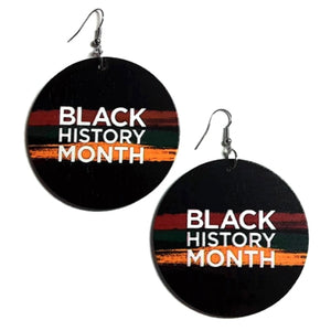 Black History Month Statement Dangle Wood Earrings
