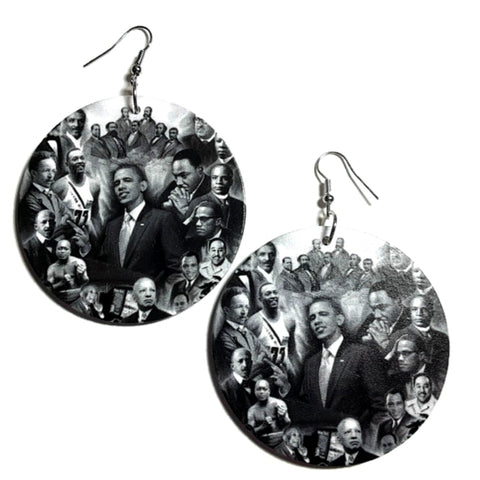Phenomenal Black Men of History Statement Dangle Wood Earrings