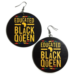 EDUCATED Black QUEEN Statement Dangle Wood Earrings