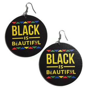 BLACK is BEAUTIFUL Statement Dangle Wood Earrings