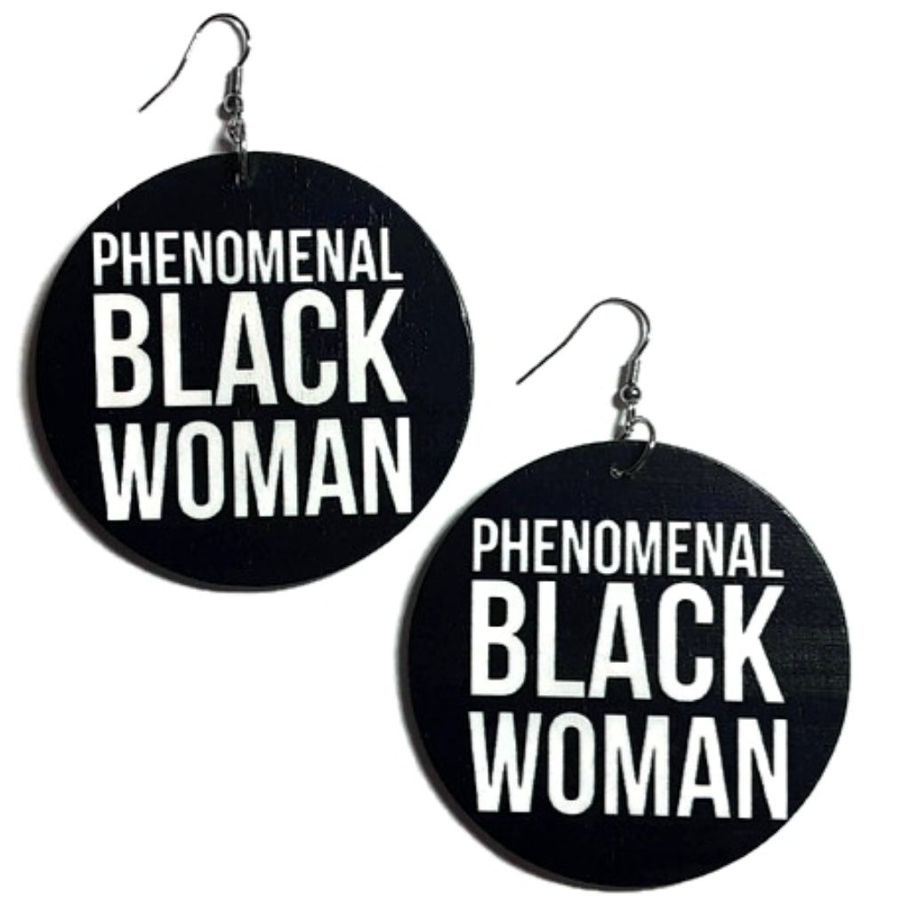 PHENOMENAL BLACK WOMAN Statement Dangle Wood Earrings