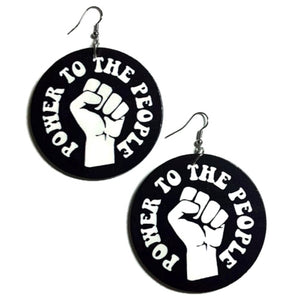 POWER to the PEOPLE Statement Dangle Wood Earrings
