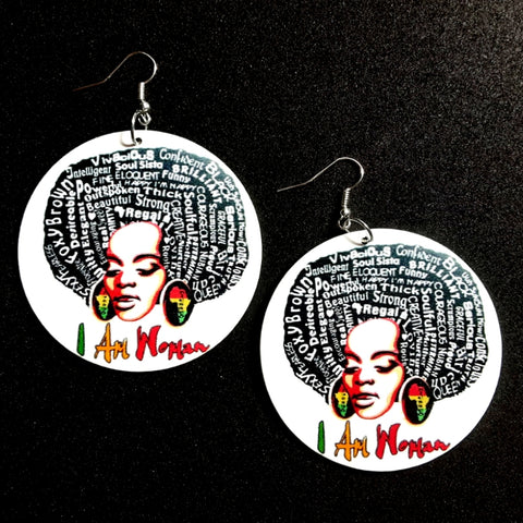 I Am Woman Statement Dangle Wood Earrings