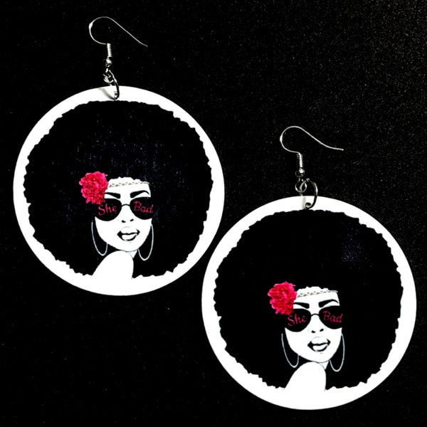 She Bad Afro Sunglasses Pink Flower Statement Dangle Wood Earrings