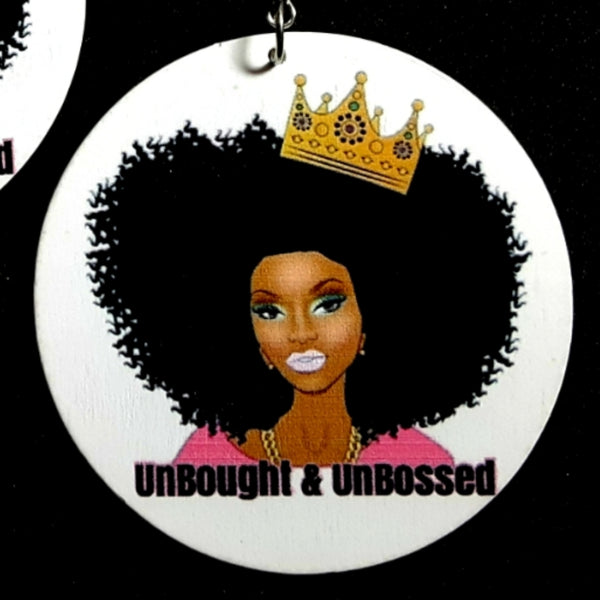 UNBOUGHT and UNBOSSED Crowned Statement Dangle Wood Earrings