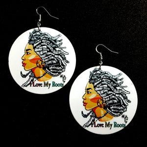 I Love My Roots Statement Dangle Wood Earrings