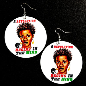 A Revolution Begins In The Mind Statement Dangle Wood Earrings
