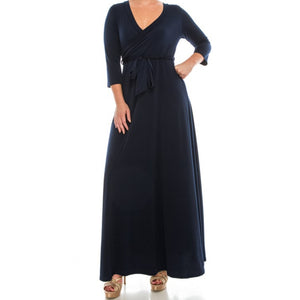Navy Solid Faux Wrap 3/4 Sleeve Plussize Maxi Dress