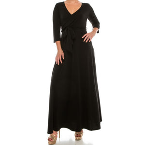 Black Solid Faux Wrap Plussize Maxi Dress