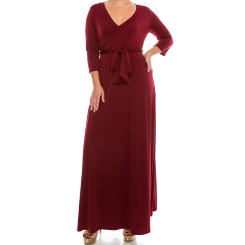 Janette Fashion Plussize Burgundy Faux Wrap 3/4 Sleeve Maxi Dress