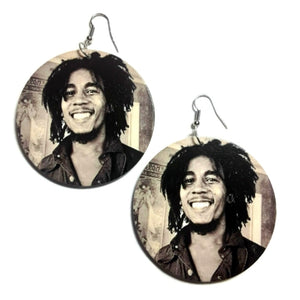 Bob Marley Smile Statement Dangle Wood Earrings