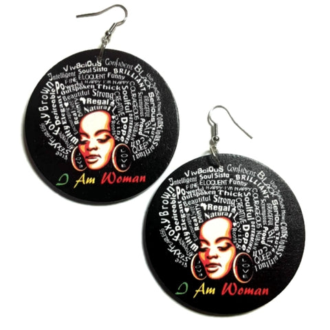I AM WOMAN Black Statement Dangle Wood Earrings