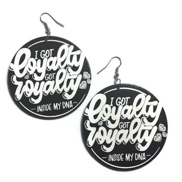 Loyalty Royalty Statement Dangle Wood Earrings